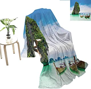 jecycleus Island Commercial Grade Printed Blanket Limestone Rock in The Sea with Boats Tranquil Heaven Coast with Horizon Off Nature Photo Queen King W80 x L60 Inch Multi