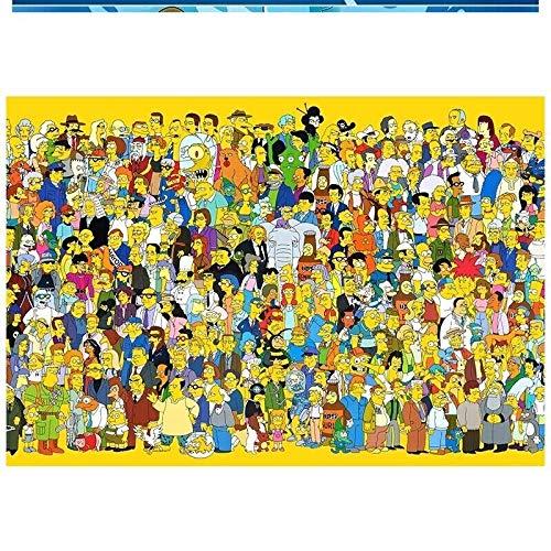 DIU Home Wooden Puzzle 1000 Piezas Anime Alrededor de 1500 Adultos Niños difíciles Juguetes educativos 300 Piezas Wood Simpson 005