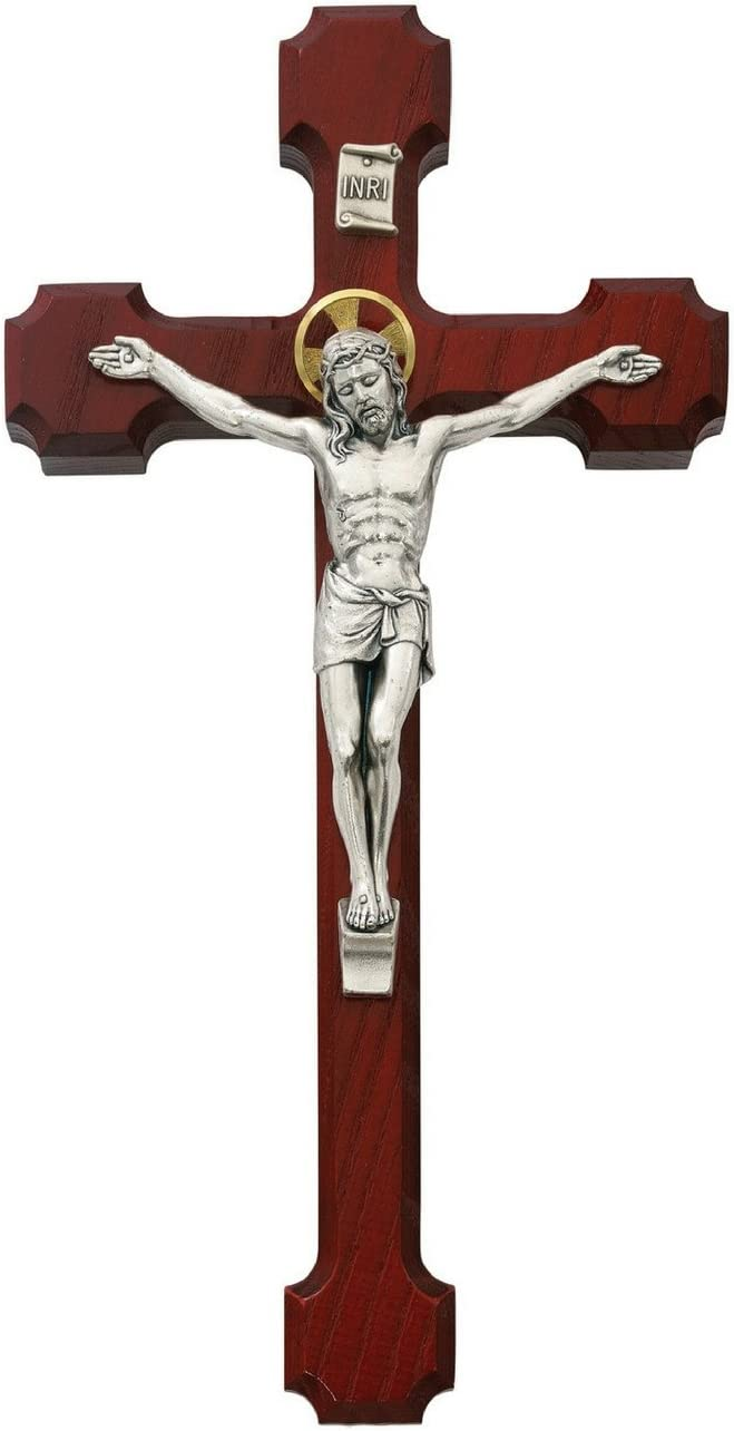 All Patron Saints Cherry Wood Wall with Colo Cross Gold Challenge the Limited time cheap sale lowest price Crucifix