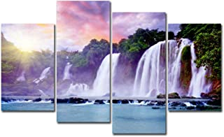 4 Panels Canvas Painting Wall Art Waterfall Picture Prints on Canvas Modern Landscape Unframed Artwork for Living Room Bedroom Home Decor (No Frame)