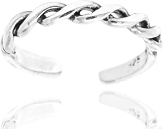 925 Sterling Silver Simple Minimalist Shiny Polished Double Twisted Rope Open Band Toe Ring, 2.5 mm