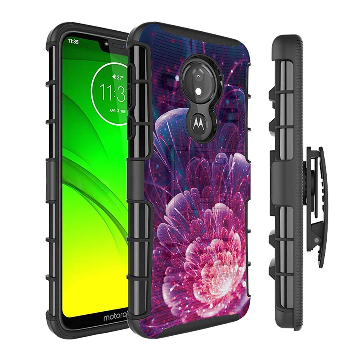 Moriko Case Compatible with Moto G7 Power, Moto G7 Supra [Kickstand Holster Combo Heavy Duty Protection Case Black] for Motorola Moto G7 Power - (Space Floral)