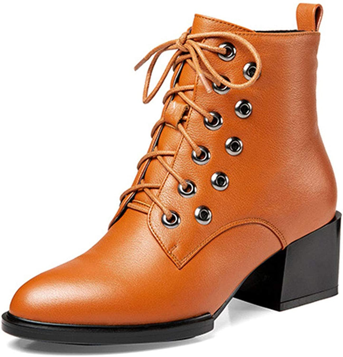 Women's Winter Martin Boots Leather Thick with Round Head lace up Low Boots with Side Zipper Solid color Martin Boots