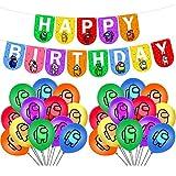 smileh Cumpleaños Decoracion de Among Us Globos Pancarta de Feliz Cumpleaños de Juegos para niños adultos Decoraciones de Fiesta