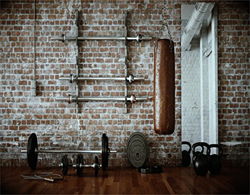 AOFOTO 10x8ft Gym Dumbbell Backdrop Indoor Sports Fitness Room Photography Background Muscle Training Wellness Physique Physical Exercise Sandbag Photo Studio Props Adult Artistic Portrait Wallpaper