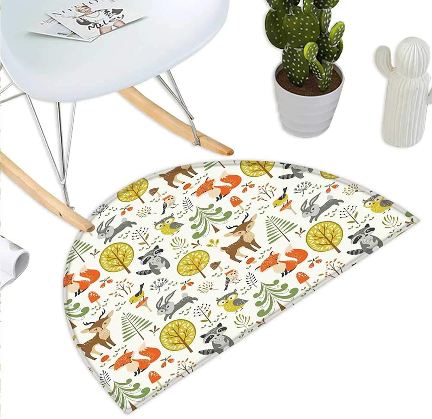 Kids Semicircle Doormat Woodland Forest Animals Trees Birds Owls Fox Bunny Deer Raccoon Mushroom Home and Halfmoon doormats H 43.3  xD 64.9