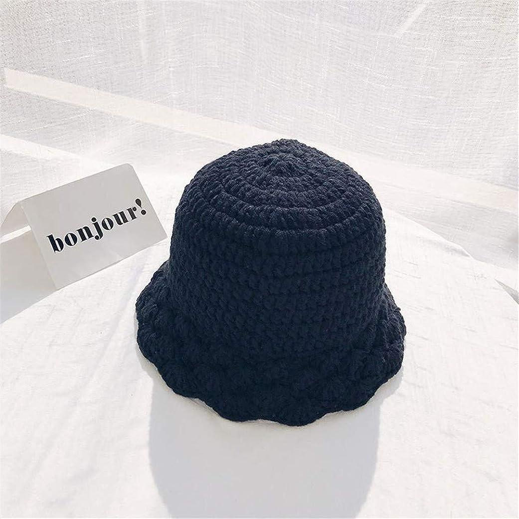 十分です間違いなく誤解YUXINXIN 甘くてかわいい顔の重要な暖かい帽子のバケツの帽子女性の秋と冬のウールの帽子手作りのニットレースの韓国語バージョン (Color : Black, Size : ワンサイズ)