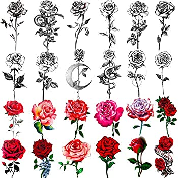 EGMBGM 24 Sheets Black Sketch Rose With Snake Temporary Tattoos For Women Sexy Red Rose Branch Crescent Moon Tattoo Sticker For Girls Waterproof Arm Leg Neck Fake Flowers Tattoo Temporary Tatoo Kit