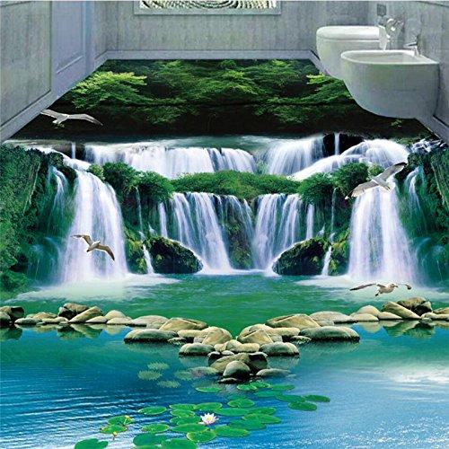 Mznm Droom Waterval Water groene bos 3D badkamer slaapkamer vloerbedekking aangepaste grote muurschildering vloerbedekking stickers 200 x 140 cm.