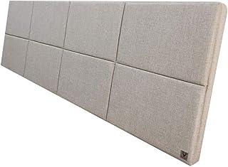 Cabeceira Estofada Solteiro Bloco Alce Couch Linho Bege 90cm