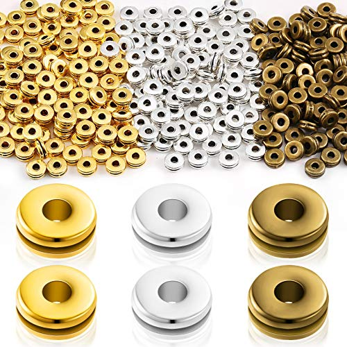 300 Pieces Metal Spacer Beads Flat Round Disc 6 mm Rondelle Spacer Beads Metal Rondelle Crimp Beads for Bracelet Necklace Jewelry DIY Crafts Making, Golden, Silver and Bronze