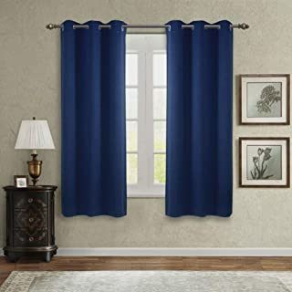 SINGINGLORY Blue Blackout Curtains for Bedroom Living Room, 42 x 63 Inches Long Curtains Panels Set of 2 Linen Textured Thermal Insulated Grommet Window Curtains (42x63 Inch, Dark Blue)