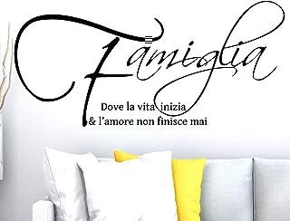 ADESIVI MURALI FRASI CITAZIONI FAMIGLIA AMORE CASA Wall Stickers Adesivo Murale Frase Scritta Muro Home Decorazione intern...