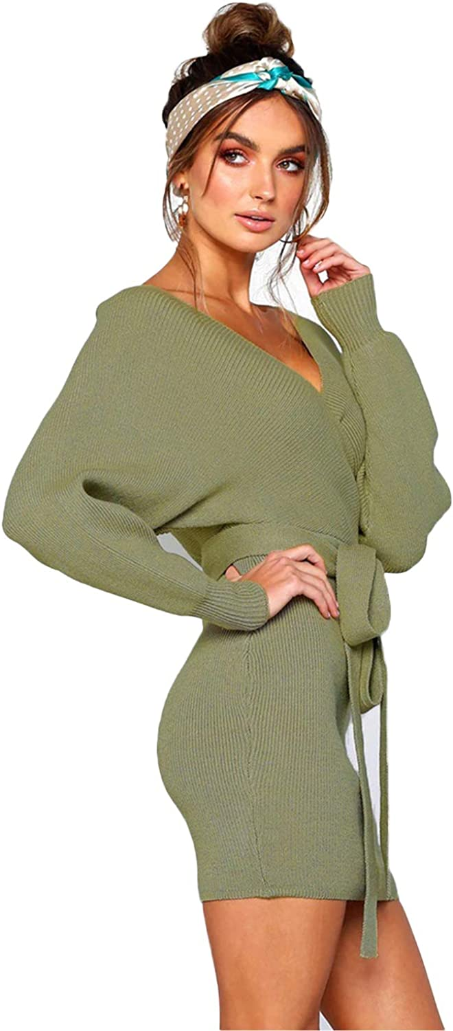 L'ASHER Women's Sexy Deep V Neck Tie Waist Cocktail Batwing Long Sleeve Knitted Dress Belted Backless Bodycon