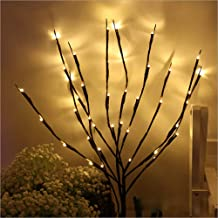 NAWEDA LED Branches Lights Artificial Willow Twig Lights for Decoration Warm White Battery Powered 20 Inches 20 LED - 4 Pack