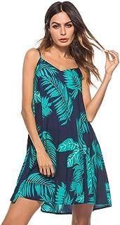 Womens Beach Dress Mini Slip V-Neck Coconut Leaf Print for Summer Holiday