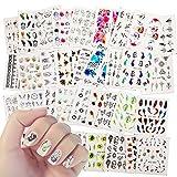 40 Feuilles Nail Art Sticker, Mwoot Multicolore Décoration Autocollants De Transfert à Eau D'Ongles Papillons Plumes Fleurs Dentelle pour DIY Nail Art Tips Design