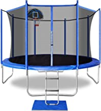 ACWARM HOME 15FT 14FT 12FT 5FT Trampoline with Safety Enclosure Net, Ladder, Basketball Hoop, Jumping Mat, Safety Pad, Outdoor Backyard Trampolines for Kids