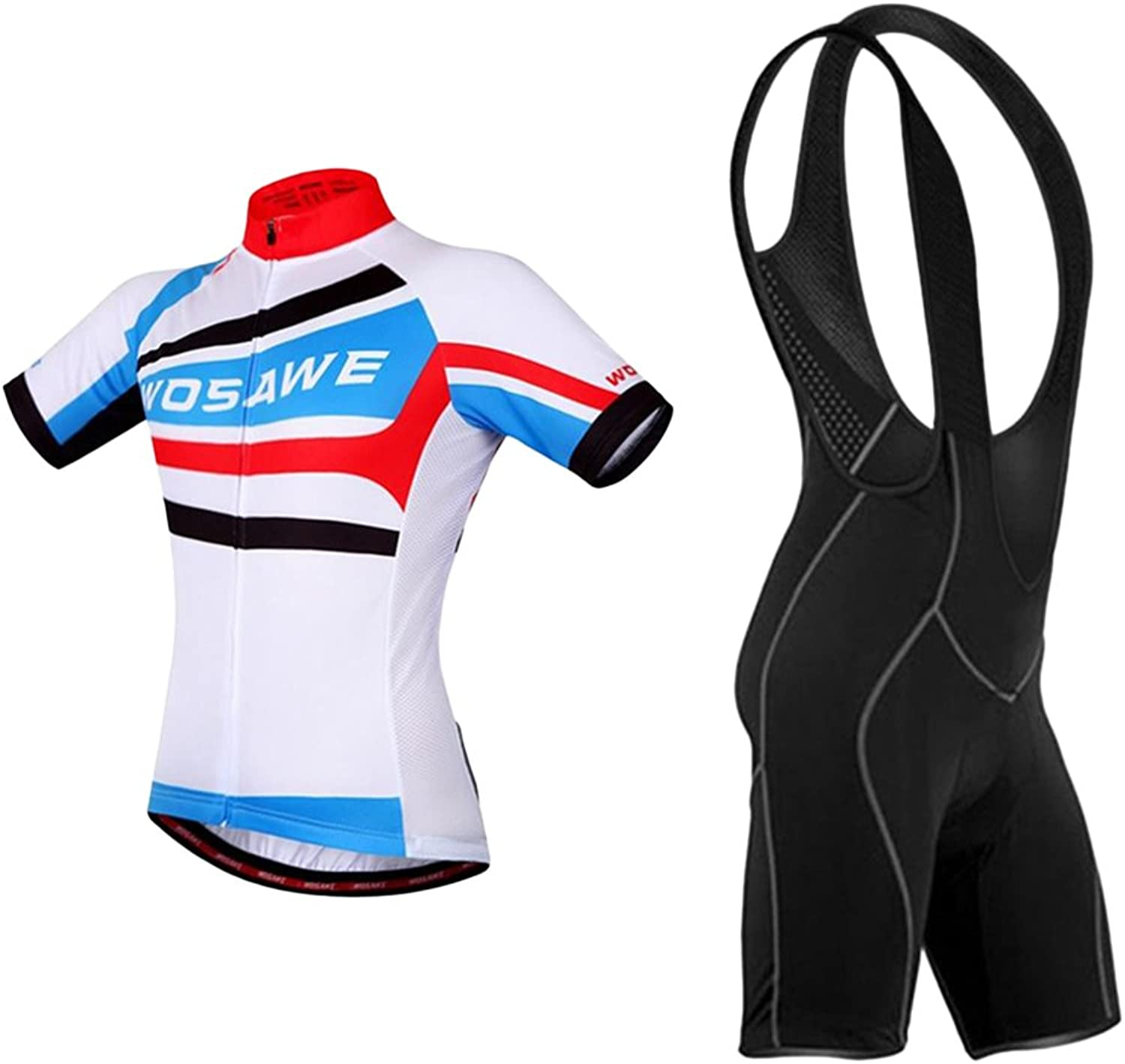 MagiDeal Men's Cycling Jersey Set  Bicycle Short Sleeve Shirt Tops and 3D Padded Bib Shorts QuickDry Breathable