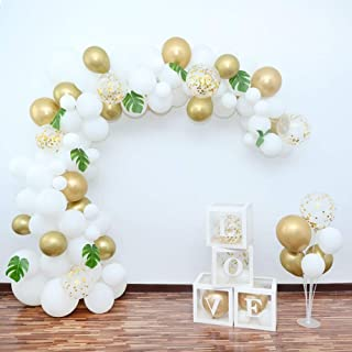 White Gold Balloon Arch Garland Kit,130 PCS 12in 18in 36in Party Balloons with 10PCS Artificial Leaves,4 PCS Balloon Decorating Kit for Baby Shower Bridal Shower Wedding Anniversary Party Decorations