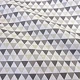 Meterware Stoff Baumwolle Dreiecke grau weiß beige Grafik