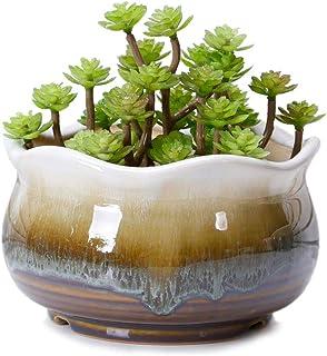 VanEnjoy Large Ceramic Succulent Pot, Multicolor Colorful Flowing Glazed, Indoor Home Décor Cactus Flower Bonsai Pot Plant...