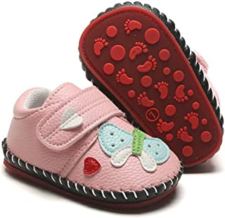 HsdsBebe Baby Boys Girls Pu Leather Hard Bottom Walking Sneakers Toddler Rubber Sole First Walkers Infant Cartoon Slippers Crib Shoes