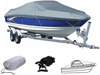Boat Cover, 420D Heavy Duty Waterproof Runabout Boat Cover, Tri-Hull,Trailerable Speedboat Fishing Ski Boat Cover,Outdoor ...