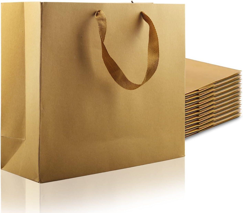 Kraft Paper Bags with Handles, 12 Pcs Brown Paper Gift Bags Wedd