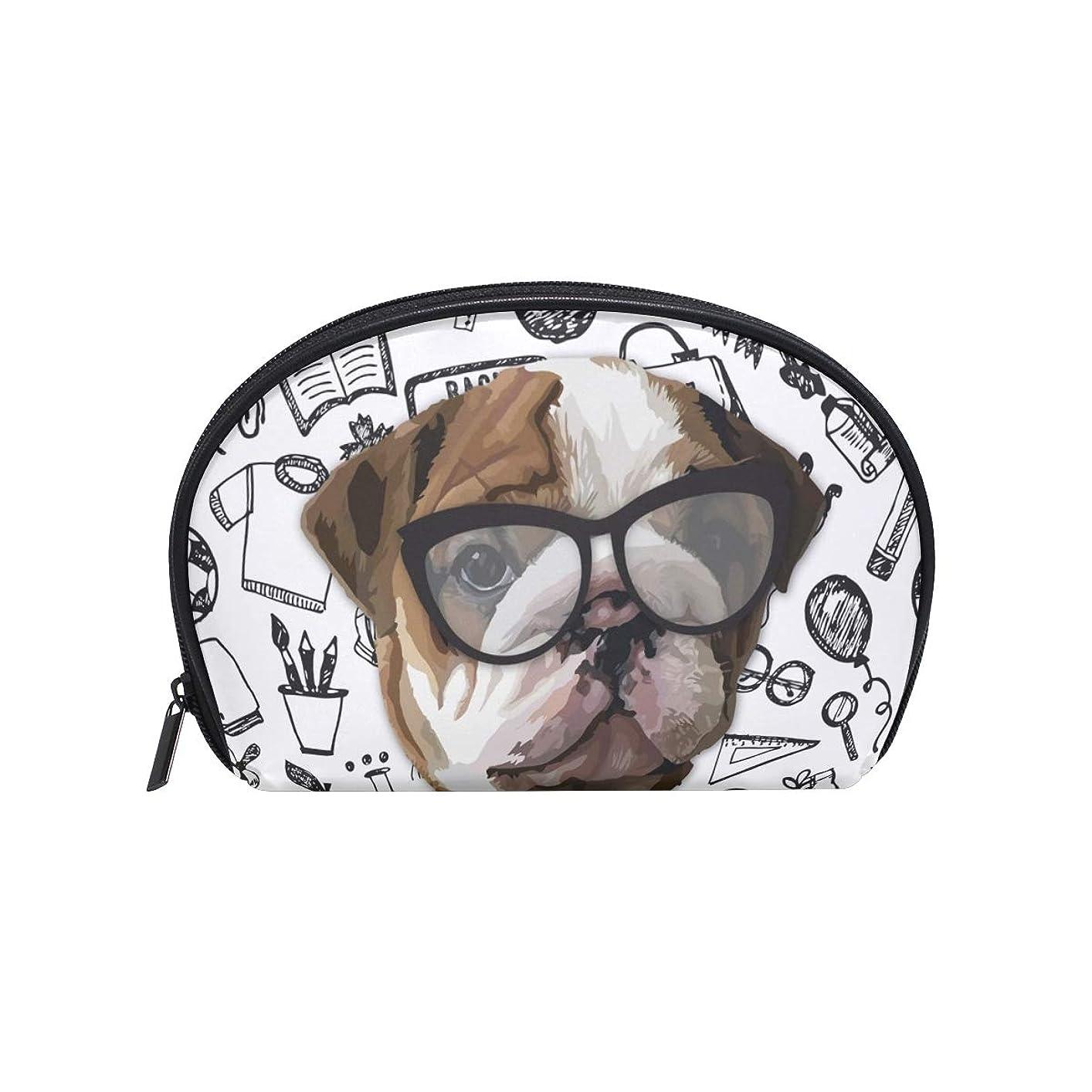 絶対に浮くバスルーム半月型 ペット動物犬 化粧ポーチ コスメポーチ コスメバッグ メイクポーチ 大容量 旅行 小物入れ