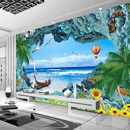 3D Wandbild Tapete, Größe Modernen Minimalistischen Art Cartoon Tiere Blue Coral Marine Bilder 5D Drucken Seide Tuch Stoff Kunst Dekor Für Wände Wohnzimmer Schlafzimmer Esszimmer Büro, 250 cm (B)