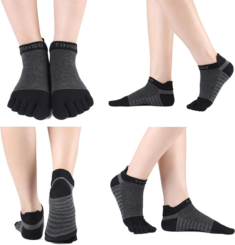 TINSO Womens Toe Socks Cotton Crew Five Finger Socks No Show Athletic Running Socks for Mens 2 Pairs 7-11