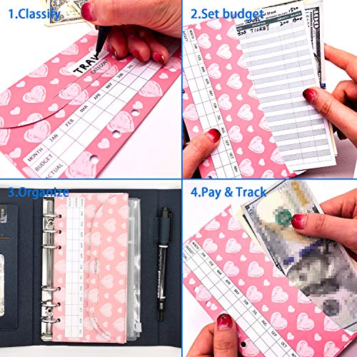 rnairni All-in-One Cash Envelopes Handbag Wallet, Finances Organizer Budget Planner Purse with 12 Budget Envelopes & Budget Sheets(Blue) Photo #7