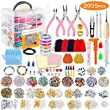 2035Pcs Deluxe Jewelry Making Supplies Kit with Instructions, PP OPOUNT Jewelry Beads, Charms, Findings, Jewelry Pliers, Beading Wire for Necklace Bracelet, Earrings Making and Repairing