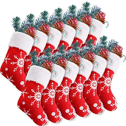 SATINIOR 12 Pieces 10 Inch Mini Christmas Stockings Plush Snowflake Stockings Christmas Tree Fireplace Hanging Stocking for Xmas Holidays Decorations Supplies
