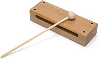 Wood Block Musical Instrument with Mallet Solid Hardwood Percussion Rhythm Blocks