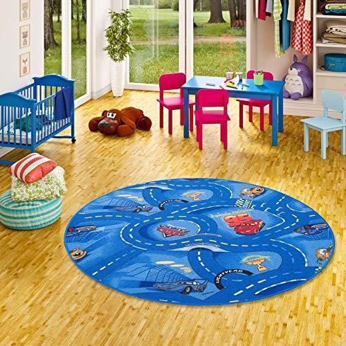Snapstyle Tapis de Jeu pour Enfant Disney Cars Bleu Circuit de Route Rond - 4 Tailles Disponibles