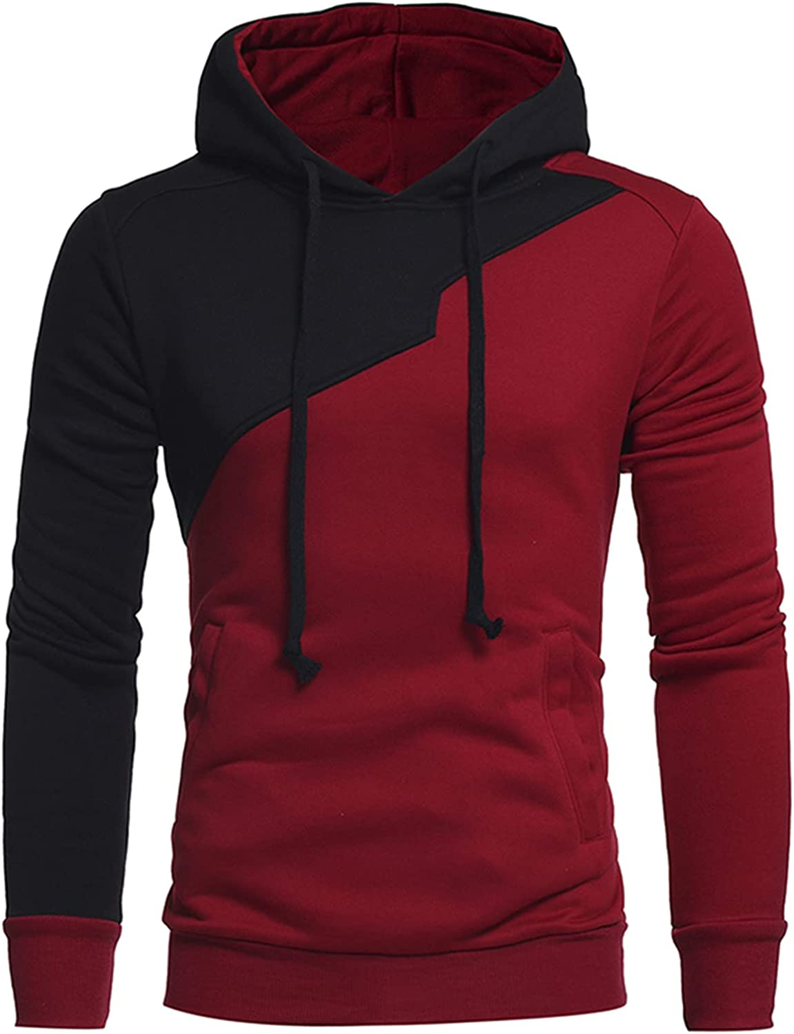 XXBR Stitching Hoodies for Mens, Color Block Patchwork Drawstring Casual Hooded Sweatshirts Workout Fitness Pullover