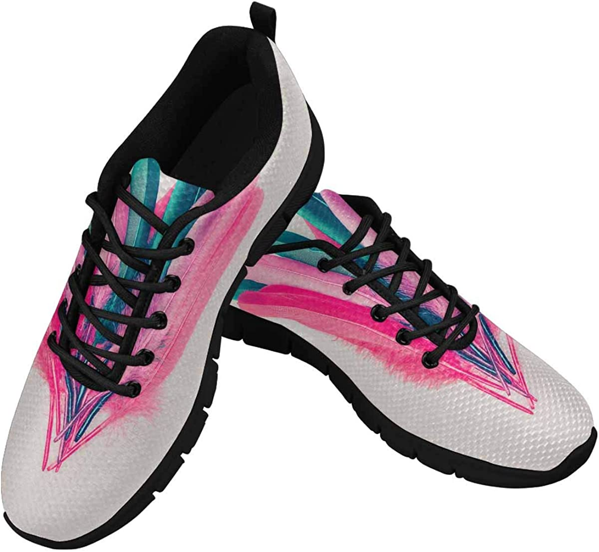 INTERESTPRINT Feathers Minimal Style Women Walking Shoes Comfortable Lightweight Work Casual Travel Sneakers