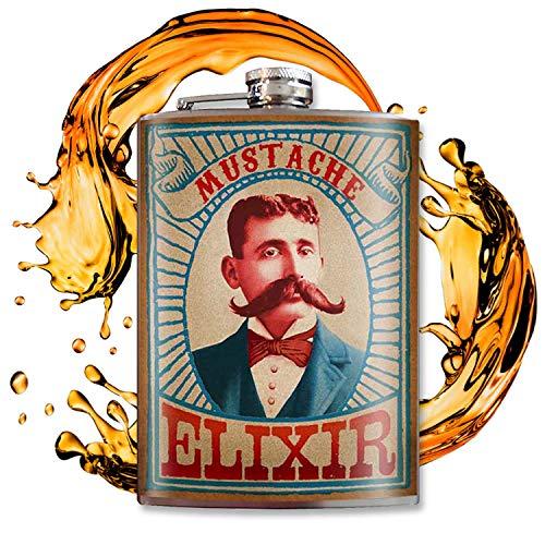 Mustache Elixir - 8oz Flasks For Liquor For Men - Stainless Steel Flask - Groomsmen Gifts - Whiskey Flask - Groomsmen Flask Funny - Alcohol Flask - Funny Flask For Men - Hip Flask - Trixie And Milo