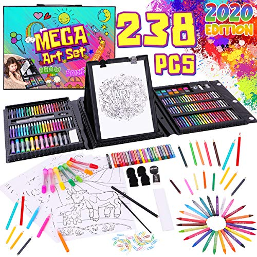 Dinonano School Art Supplies for Kids - Painting and Drawing Kit for Girls Boys Ages 3 4 5 6 7 8 9 10 11 12 Years Old - Art Set Sketch Pad Easel Oil Pastels Crayons Watercolor Pencils Markers