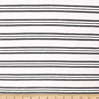 Telio Yarn Dye Stretch Bamboo Rayon Jersey Stripe Fabric, White Grey Black, Fabric By The Yard