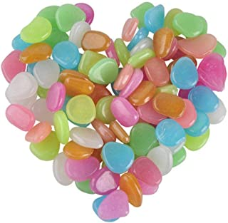 100pcs Glowing Stones Luminous Glow in the Dark Garden Pebble Colorful Decorative Stone for Walkways Decor Fish Tank