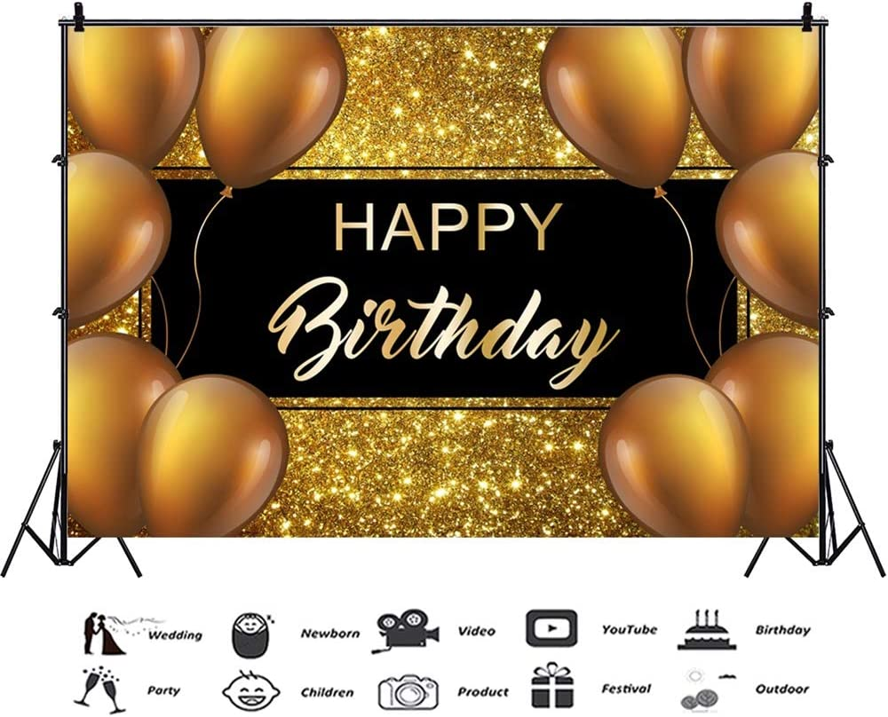 Laeacco 10x7ft Happy Birthday Vinyl Photography Background Luxurious Golden Balloons Decors Golden Glittering Backdrops Child Kids Baby Adult Birthday Party Banner Cake Smash Studio Photo Props