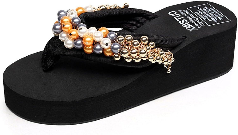 CHENGXIAOXUAN Women's New Sandals Sweet Low-Heeled Beaded Toe Flip-Flops Wedges Casual Sandals Seaside Holiday Slippers Heel 5.5cm