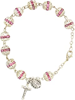 Needzo Silver Tone Base Metal and Pink Plastic Rhinestone Design Beads One Decade Rosary Bracelet with Crucifix Cross Dangle and Miraculous Medal Charm, 7 1/2 Inches