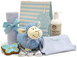 Newborn Baby Boy Gift with Plush Lamb Toy, Baby Body Wash, Facewasher, Singlet, Chocolate Hearts, Cute Gingerbread Butterfly