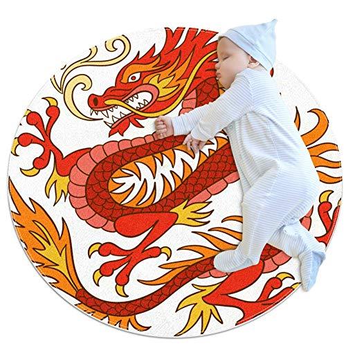 Xingruyun Runde Matte roter Drache kinderteppich rutschfest Spielteppich Teppich Kinderzimmer Babyteppich Sanft 100x100cm