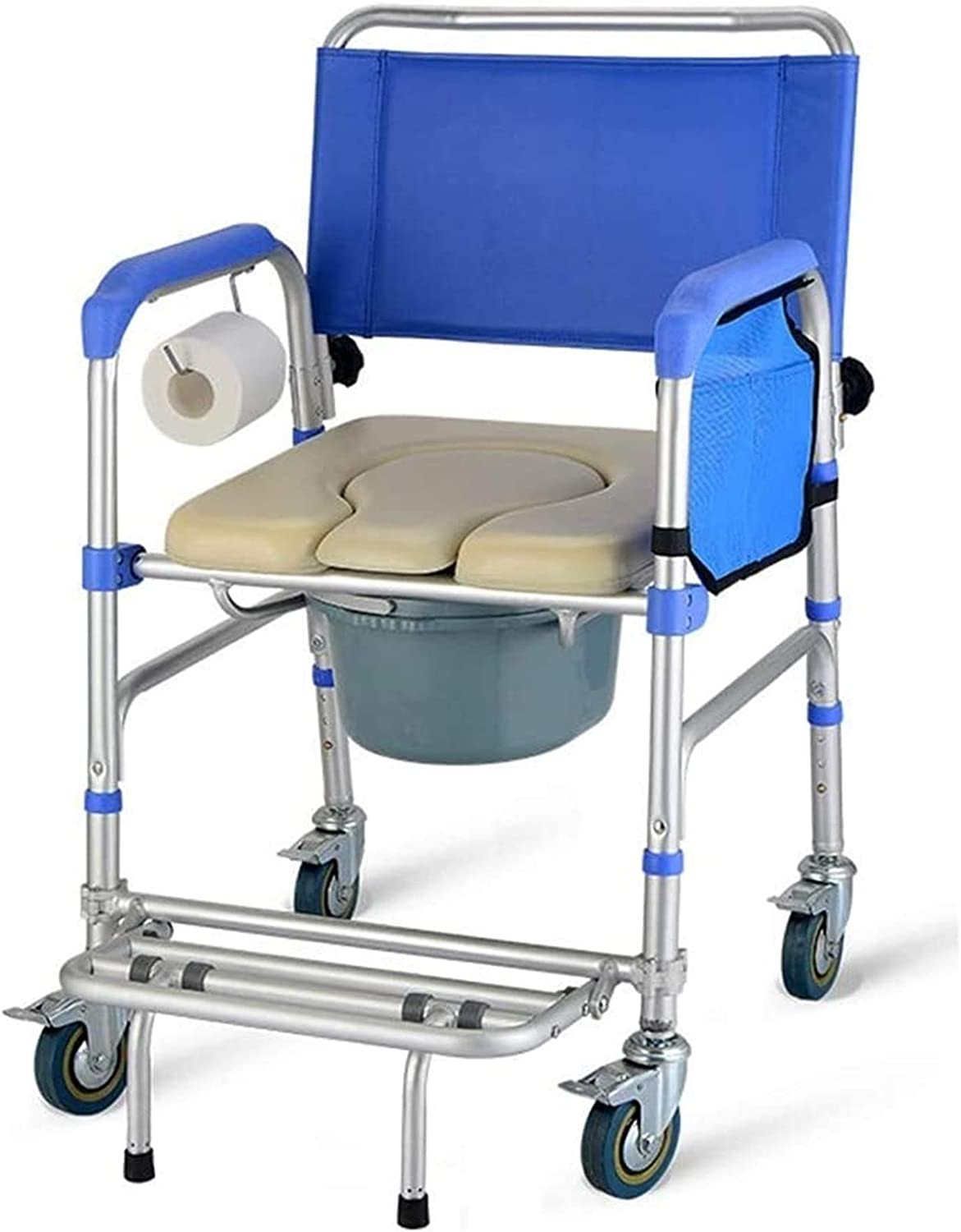 HMMN Foldable Portable Wheeled Commode with Whe Ranking Max 54% OFF TOP17 Bath Chair