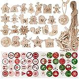 Set Ciondoli Natalizi Calendario dell'avvento Natale Legno Mollette Decorative Conto Rovescia da 1 a 24 Etichette Adesive Natalizie Decorazioni per Sacchetti Scatolina Regalo Foto Casa Festa (A)